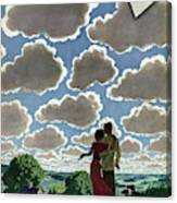 A Young Couple And Their Dogs On A Hilltop Canvas Print