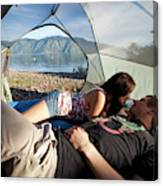 A Young Couple Camping Talk Canvas Print