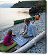 A Young Girl And Her Dad Enjoying Camp Canvas Print