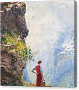 A Young Girl By A Fjord Canvas Print