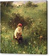 A Young Girl In A Field Canvas Print