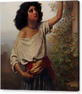 A Young Gypsy Woman With Tambourine  Canvas Print