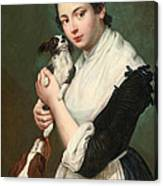 A Young Lady With Two Dogs Canvas Print