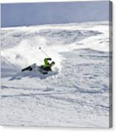 A Young Man Falls While Skiing Canvas Print