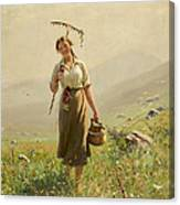 A Young Woman In The Meadow Canvas Print