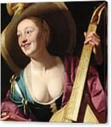 A Young Woman Playing A Viola Da Gamba Canvas Print