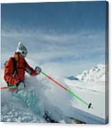 A Young Woman Skis The Backcountry Canvas Print