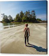 A Young Woman Walks Towards Frank Canvas Print