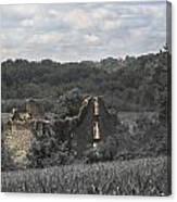 Abandon Stone House And Steeple  Canvas Print