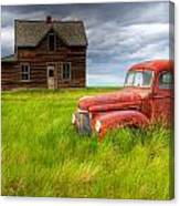 Abandoned Homestead House And Red Canvas Print