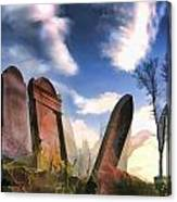 Abandoned Tombstones On The Prairie Canvas Print