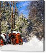 Abandoned Winter Tractor Canvas Print