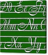 Abc 123 Green Canvas Print