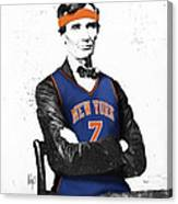 Abe Lincoln In A Carmelo Anthony New York Knicks Jersey Canvas Print