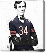 Abe Lincoln In A Walter Payton Chicago Bears Jersey Canvas Print