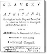 Abolitionist Tract, 1776 Canvas Print