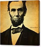 Abraham Lincoln Portrait And Signature Canvas Print