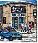 Montreal Art Exhibit At Java U Carole Spandau Montreal Street Scenes Paintings Hockey Art  Canvas Print