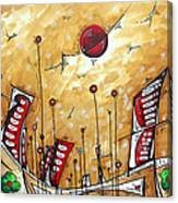 Abstract Art Cityscape Original Painting The Garden City By Madart Canvas Print