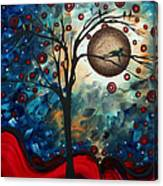 Abstract Art Contemporary Cat Bird Circle Of Life Collection Cat Perch By Madart Canvas Print