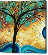 Abstract Art Contemporary Painting Summer Blooms By Madart Canvas Print
