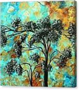 Abstract Art Landscape Metallic Gold Textured Painting Spring Blooms II By Madart Canvas Print