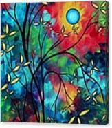 Abstract Art Landscape Tree Blossoms Sea Painting Under The Light Of The Moon II By Madart Canvas Print