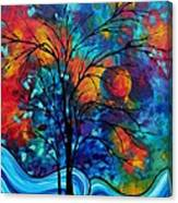 Abstract Art Landscape Tree Bold Colorful Painting A Secret Place By Madart Canvas Print