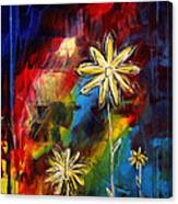 Abstract Art Original Daisy Flower Painting Visual Feast By Madart Canvas Print