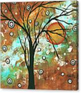 Abstract Art Original Landscape Painting Bold Circle Of Life Design Autumns Eve By Madart Canvas Print
