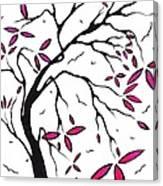 Abstract Artwork Modern Original Landscape Pink Blossom Tree Art Pink Foliage By Madart Canvas Print