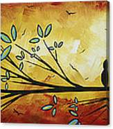 Abstract Bird Landscape Tree Blossoms Original Painting Family Of Three Canvas Print