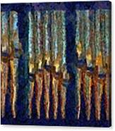 Abstract Blue And Gold Organ Pipes Canvas Print