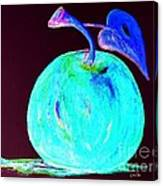 Abstract Blue And Teal Apple On Black Canvas Print