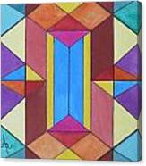 Abstract Colorful Stained Glass Window Design  Canvas Print