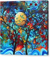 Abstract Contemporary Colorful Landscape Painting Lovers Moon By Madart Canvas Print