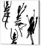 Abstract Dancers In Black And White Canvas Print
