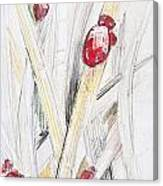 Abstract Floral Painted Background With Ladybugs Canvas Print
