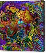 Abstract Fronds In Jewel Tones - Square Canvas Print