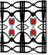 Abstract Geometric Black White Red Pattern Art No.173. Canvas Print