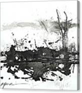 Modern Abstract Black Ink Art Canvas Print