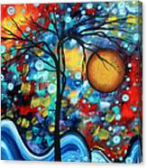 Abstract Landscap Art Original Circle Of Life Painting Sweet Serenity By Madart Canvas Print