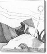 Abstract Landscape Art Black And White Beach Cirque De Mor By Romi Canvas Print