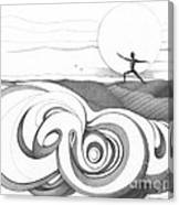 Abstract Landscape Art Black And White Yoga Zen Pose Between The Lines By Romi Canvas Print