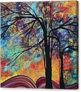 Abstract Landscape Tree Art Colorful Gold Textured Original Painting Colorful Inspiration By Madart Canvas Print