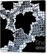Abstract Leaf Pattern - Black White Light Blue Canvas Print