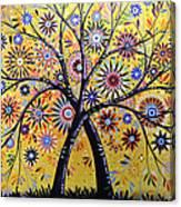 Abstract Modern Flowers Garden Art ... Flowering Tree Canvas Print