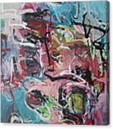 Abstract Pink Blue Painting Canvas Print