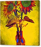 Abstract Sunflowers In Vase Canvas Print