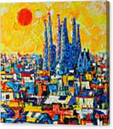 Abstract Sunset Over Sagrada Familia In Barcelona Canvas Print